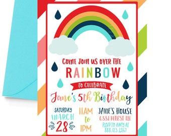 Rainbow Party Invitation, Rainbow Birthday Invitation, Rainbow Theme, Rainbow Invitation, Colorful, Girl's Rainbow Party, Girl's Birthday