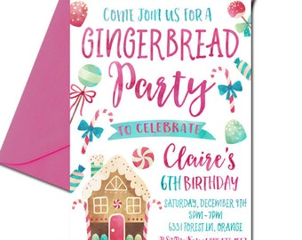 Gingerbread House Invitation, Gingerbread Party Invitation, Christmas Birthday Invitation, Girl's Birthday, Gingerbread Decorating, digital