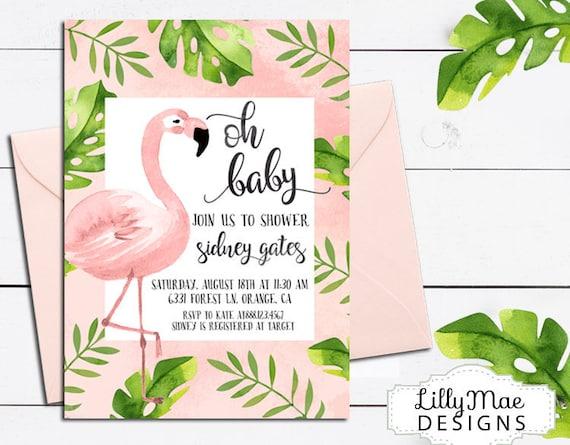 a002bde2db01 Flamingo Baby Shower Invitation Tropical Baby Shower
