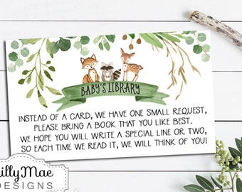 Woodland Bring a Book Card Inserts, Book Request, Book Instead of a Card, Library Card Insert, Woodland Book request, greenery, wreath