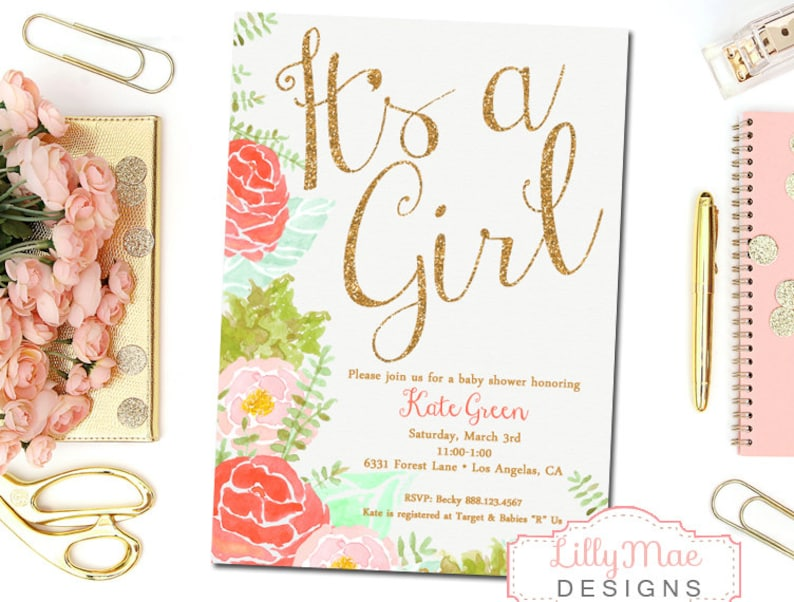 Watercolor Baby Girl Shower Invitation Coral and Mint Baby image 0