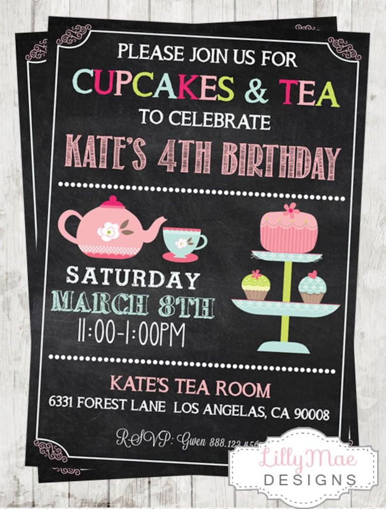 Chalkboard Tea Party Invitation Tea Party Invitation,Tea Party Birthday Printable Tea Party Invitation Cupcakes and Tea Digital