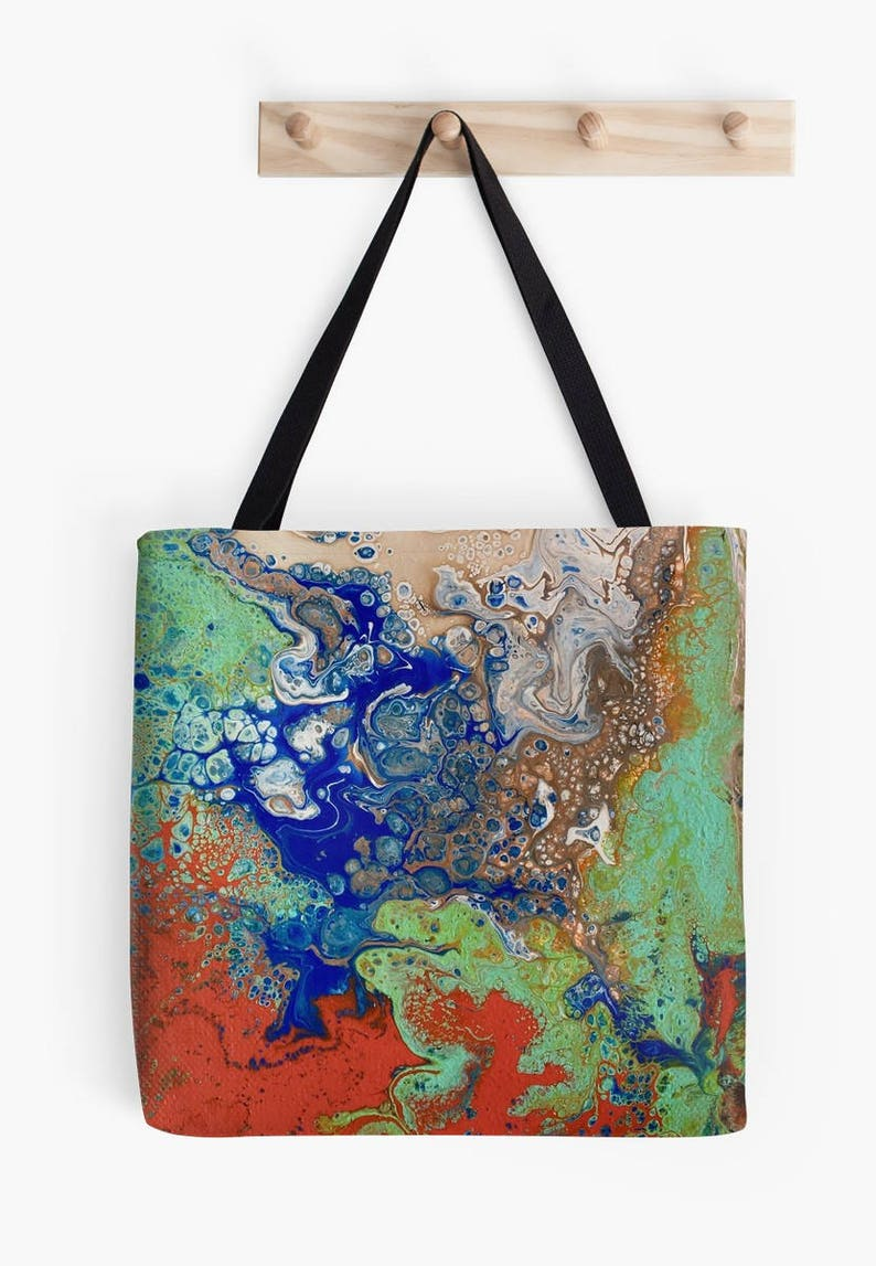 M or S Tote Bag Aggregation Original Fluid Acrylic Art L Printed on Both Sides!