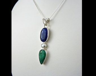 India Emerald, Sapphire Pendant, 925 Sterling Silver, Multi Stone, Blue and Green, Silver White Pearl, Long Narrow, Pear, Oval, Gemstone