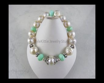 White Kasumi, Green Opal, 925 Sterling Silver, Stretch Bracelet, Pearl, Marcasite, Ripple, Wrinkle, Baroque, Macedonian, Genuine Gemstone