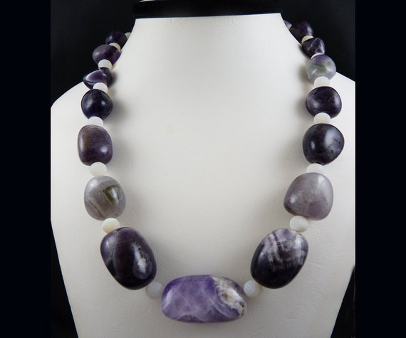 Amethyst Graduated Nuggets with Rose Quartz and Thia Silver Necklace