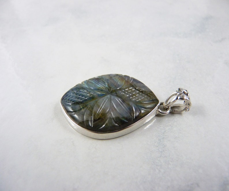 Rainbow Labradorite Sterling Silver Carved Flower and Leaf Pendant Genuine Gemstone Natural Multi Color