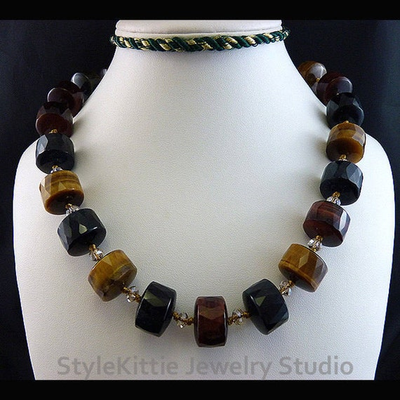 Dark Brown Spiral Knotted Necklace with Tiger/'s Eye Cross Pendant