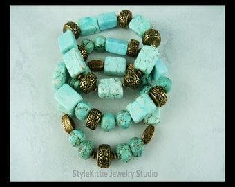 Turquoise Magnesite, Stretch Bracelet Set, Antiqued Brass, Layered, Light Blue, Three, Stackable, Gemstone, Metallite, Multi Shape, Elastic