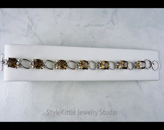 Smoky Quartz, 925 Sterling Silver, Natural Gemstone, Rectangular Link Bracelet, Toggle Clasp, Faceted Oval, Brown, Articulated, Jewelry