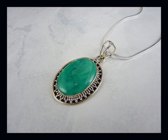 Bespoke Turquoise Pendant  Large Oval  Sterling Silver Natural Stone  December Birthstone  Trace Chain  Real Turquoise  Green Stone