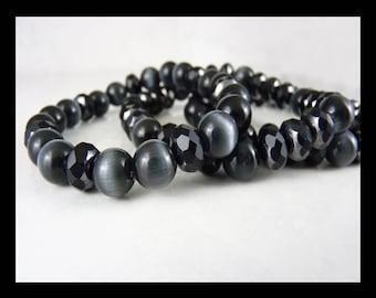 Black Cat's Eye, Stretch Bracelets, Unisex, Stack, Layer, Set of Three, Skull and Crossbones Charm, Faceted Black Hematite Czech Glass
