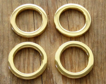 "24K Gold Plated 3/4"" D Rings Round Flat Circle Rings High Quality - Set of 4"