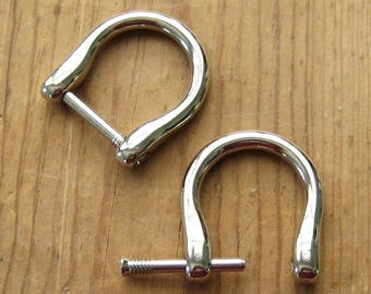 "2 Nickel Plated D Rings fits 5/8"" up to 3/4"" Screw In Replacement Purse Strap or Knife Dangler Hardware"