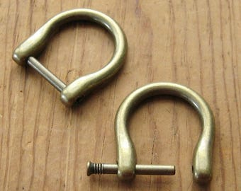 "2 Antique Brass D Rings fits 5/8"" up to 3/4"" Screw In Replacement Purse Strap or Knife Dangler Hardware"