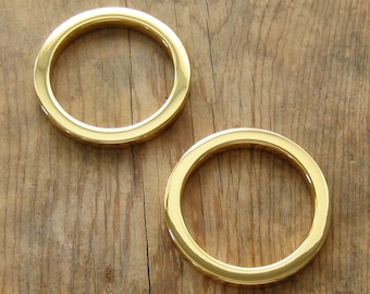 "24K Gold Plated 1.5"" D Rings Round Flat Circle Rings High Quality - Set of 2"