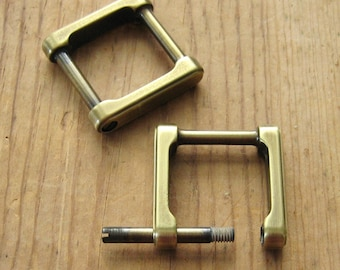 "3/4"" Screw In Antique Brass D Rings Square Replacement Purse Strap or Knife Dangler Hardware set of 2"