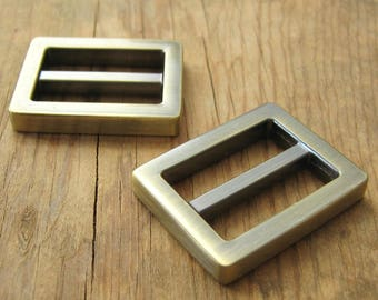 "1"" Rectangle D Rings or Sliders Antique Brass Plated Purse Hardware - set of 2"