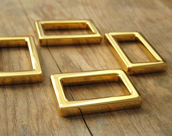 "1"" Rectangle D Rings Gold Plated Purse Hardware - set of 4"