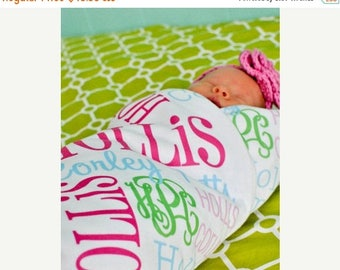 Personalized Baby Blanket Monogrammed Baby Blanket Name Blanket Swaddle Receiving Blanket Baby Shower Gift Photo Prop Birth Announce