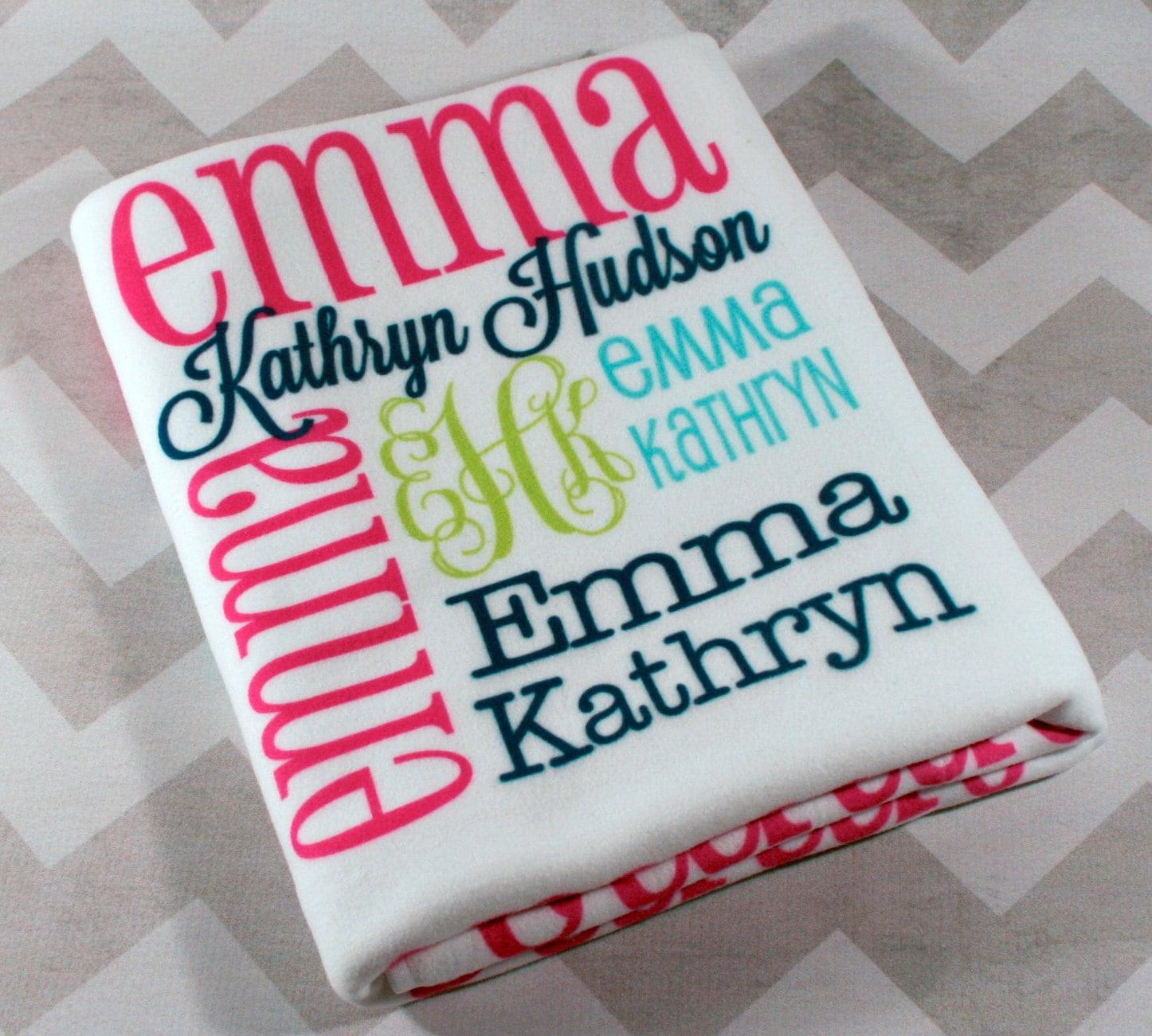 Personalized Baby Blanket Monogrammed Baby Blanket Name   Etsy