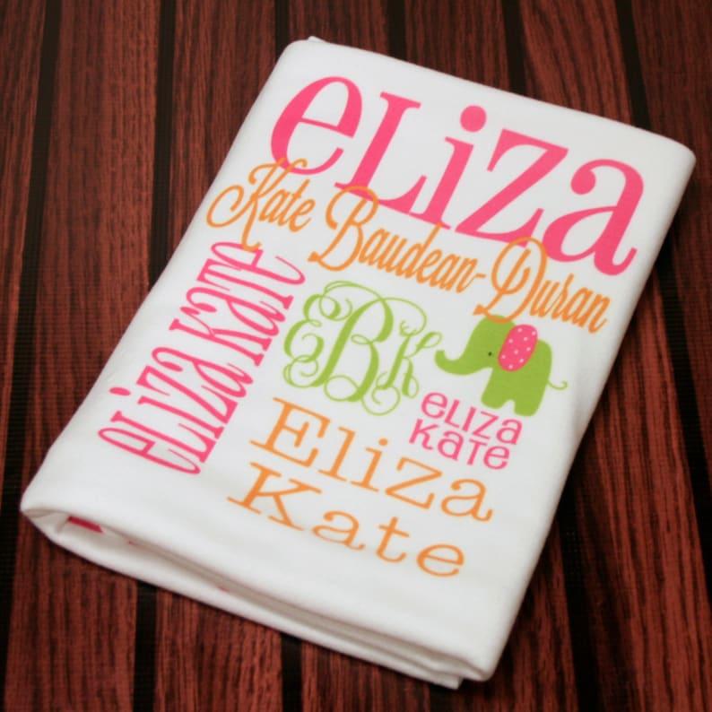 SALE of the Summer Personalized Baby Blanket Monogrammed Baby Blanket Name Blanket Swaddle Receiving Blanket Baby Shower Gift Photo Prop Bir