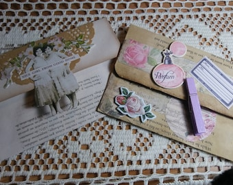2 Vintage Book Page Handmade Envelopes (Double Thinkness) Embellished and Coffee Dyed (1)