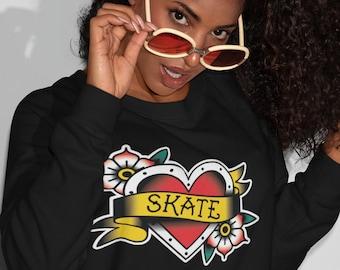 Roller Skate Sweatshirt | Skate Heart Tattoo Roller Derby Shirt | Roller Derby Sweater | Skateboarding Sweat Shirt