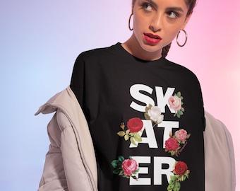 Roller Skate Shirt | Floral Skater Aesthetic |  Roller Derby T-Shirt | Skateboarding Tshirt