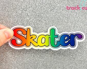 Roller Derby Pride Sticker, Skateboarding Helmet Sticker, Waterproof Sticker, Skating Sticker, Rainbow Skater Sticker