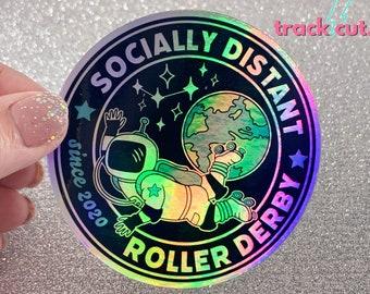 Holographic Roller Derby Sticker, Rainbow Helmet Sticker, Glossy Waterproof Sticker, Roller Derby 2020 Blocker Sticker, Socially Distant