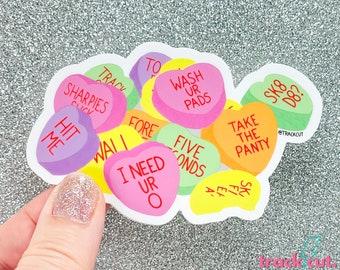 Roller Derby Sticker | Roller Derby Helmet Sticker | Valentine Conversation Hearts Sticker for Skaters | Derby Wife Valentines Day Gift
