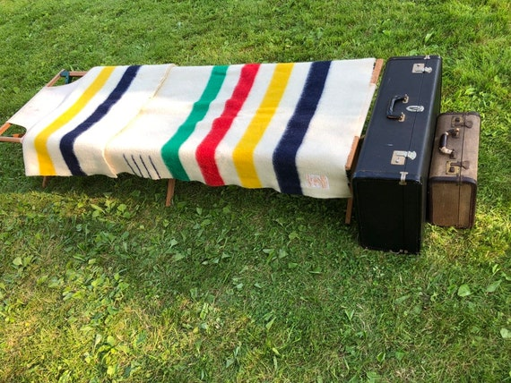 vintage wood and canvas Boy Scouts camp cot, daybed, display