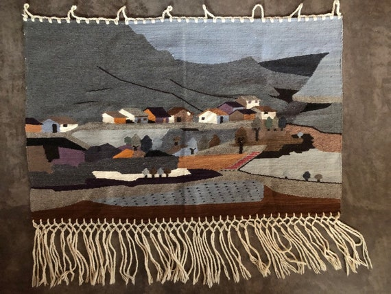 """rustic, wool Mexican hand-tied village tapestry, 42"""" x 27"""""""