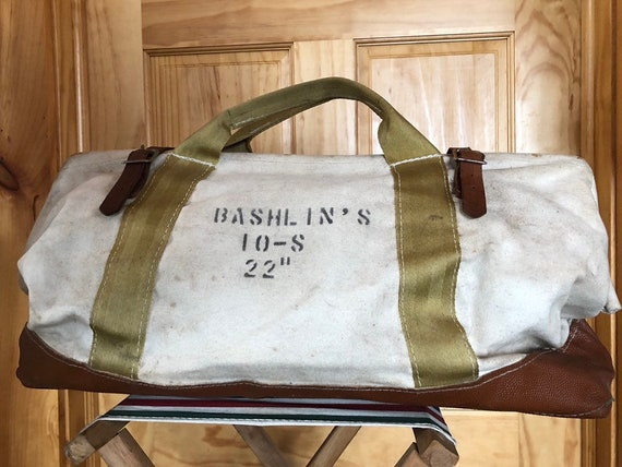 vtg BASHLIN canvas leather lineman or tree climber tool bag