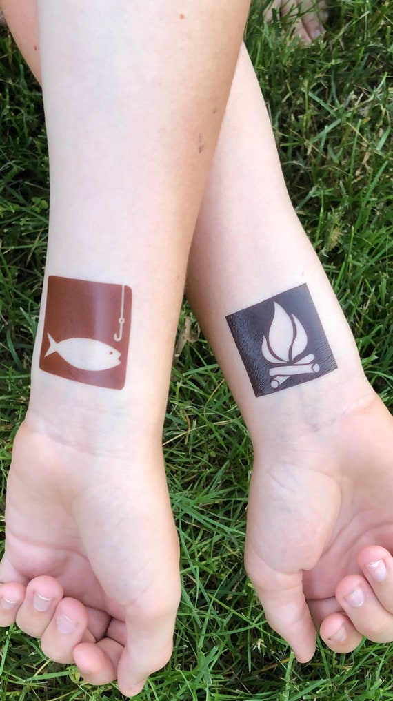 recreational area temporary tattoo set of 5, includes camp, fire tower, fishing, campfire, and hiker
