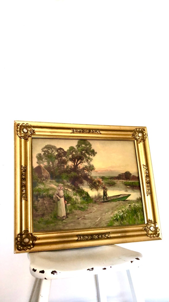 antique 1914 print skiff on lake, with man woman child, nature