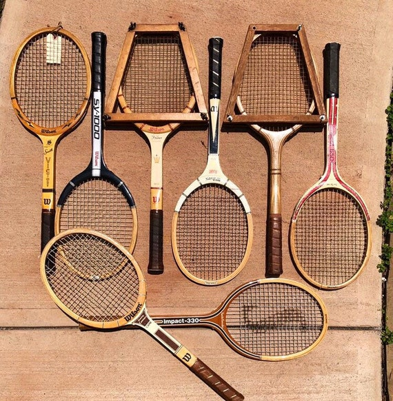 lot of 8 vintage wooden tennis racquets for club or lodge decor