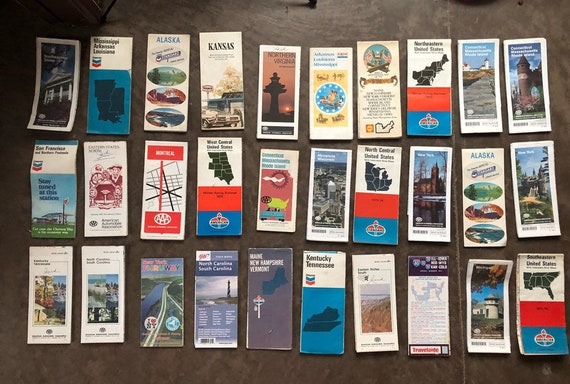 vintage paper road and travel map lot