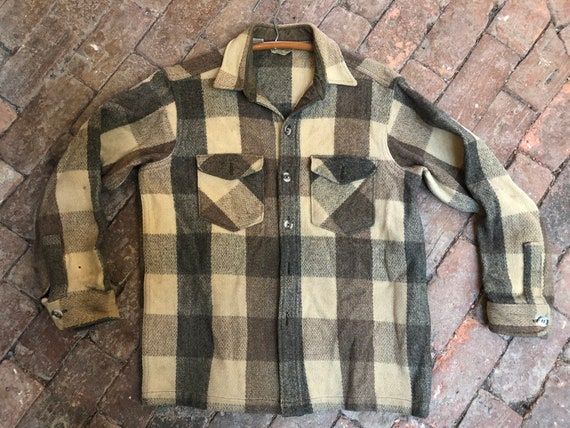vintage LL Bean jacshirt, plaid, made in USA