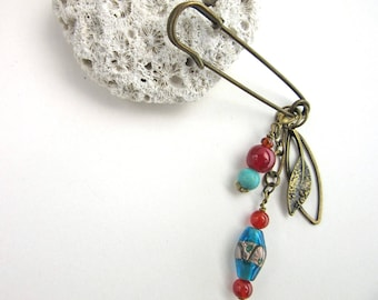 Large Scarf Pin - Blue Kilt Pin - Beaded Jacket Brooch - Amber and Turquoise