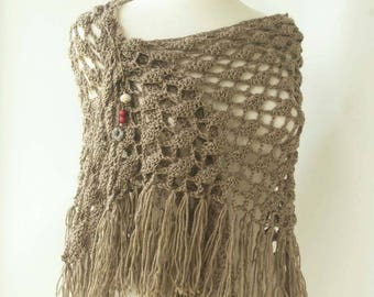 Brown Crochet Knit Shawl - Taupe Triangle Scarf with Fringe - Fringed Scarf - Hand Knit
