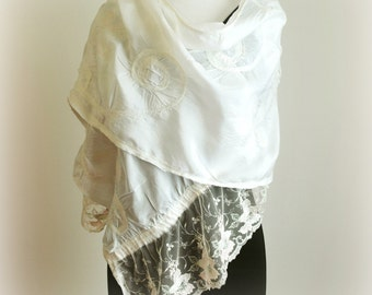 Large White Silk Wrap - Special Occasion Stole - Hint of Pink
