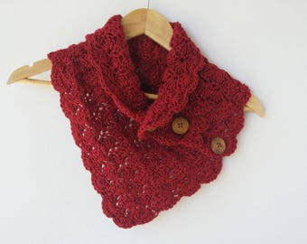 Red Knit Scarf with Buttons - Red Winter Cowl - Neckwarmer