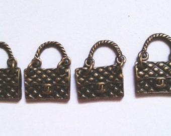 5pcs Antique Brass Cute  Handbag Purse charm