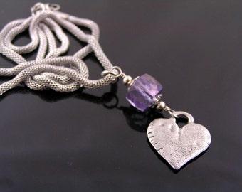 Heart Necklace with Mystic Quartz, Blue Quartz Necklace, Gem Necklace, Gemstone Jewelry, Something Blue, Heart Charm, Heart Jewelry, N1962