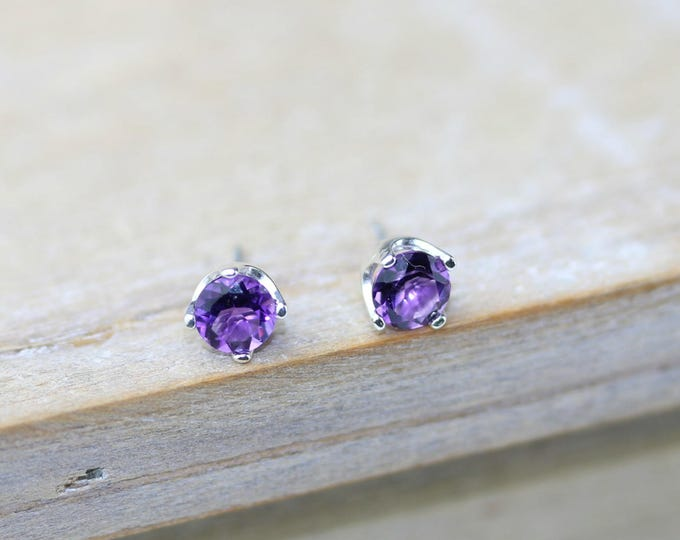 Featured listing image: Amethyst Faceted Earring Studs | Natural Gemstone Post Earrings