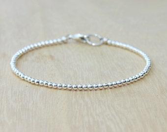 Silver Beaded Bracelet | Minimalist Bracelet | Silver Stacking Bracelet