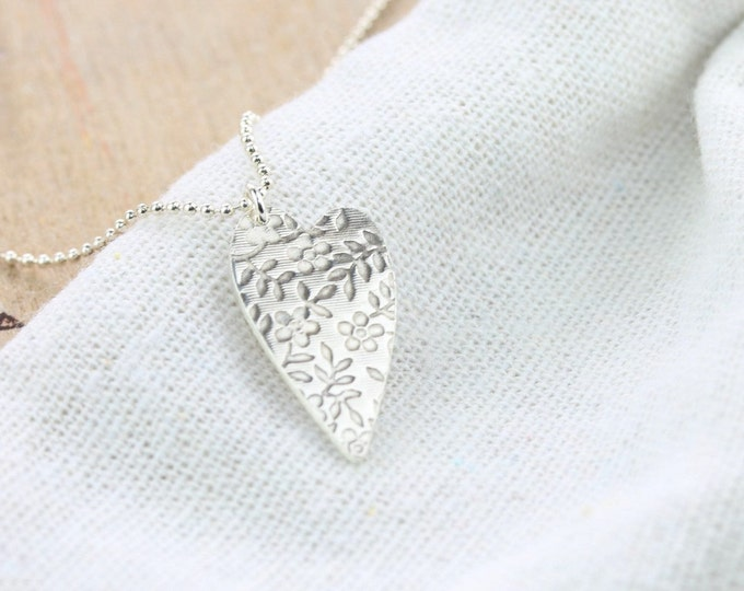 Featured listing image: Floral Print Wild Love Heart Necklace | Silver Necklace