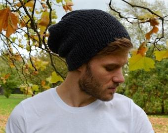 Anthracite Men's Slouchy Beanie Hand Knit Hat for Men Unisex Beanie Dark Gray